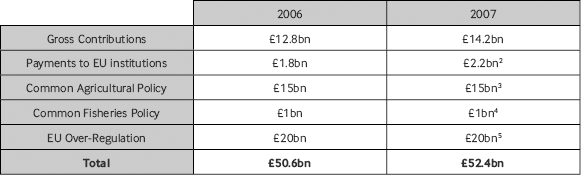 How much does the European Union cost Britain 2006 x2